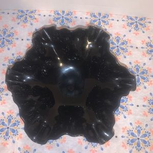 Vintage Accents - Black Crimped Grape Pattern Footed Dish